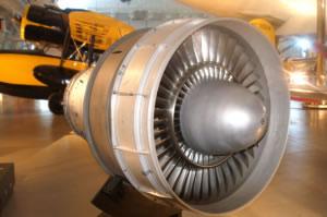 Motor de turbina de un avión.