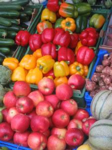 Frutas y verduras en mercado