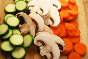 Zanahorias, hongos, calabacitas