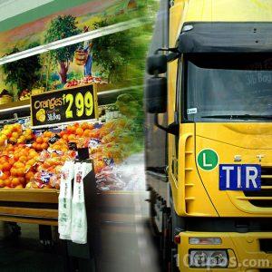 Transporte de mercancía a supermercados, como canal de distribución.