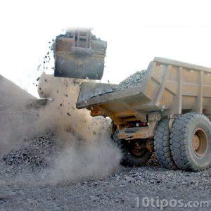 Camión minero o tolva gránela mineral