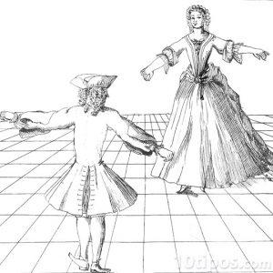 Hombre y mujer en la danza cortesana