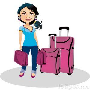 Caricatura de mujer con maletas