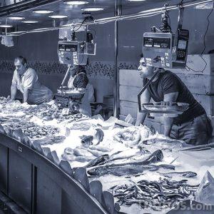 Personas vendiendo pescado fresco