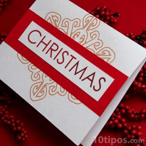 Tarjeta navideña de color rojo con blanco