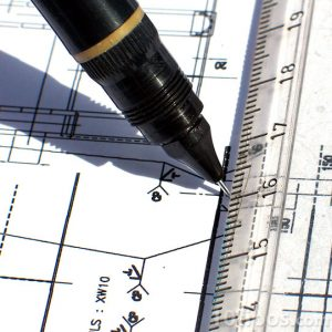 Dibujo de un plano con medidas