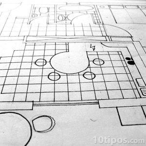 Plano de casa sin medidas impreso sobre papel