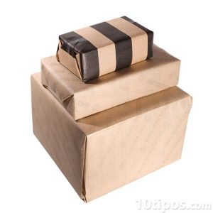 3 cajas empaquetadas con papel kraft