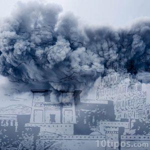 Tormenta con edificios de babilonia