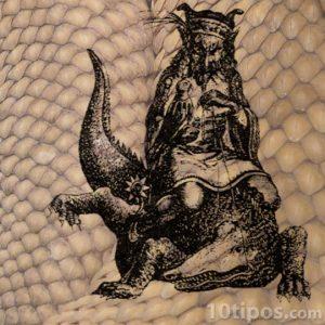 Demonio sentado en lagarto