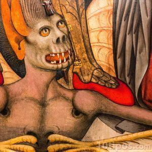 Pintura de vampiro con colmillos