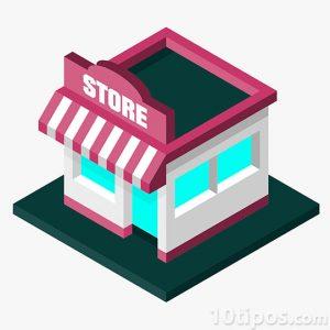 Representación de tienda en isométrico