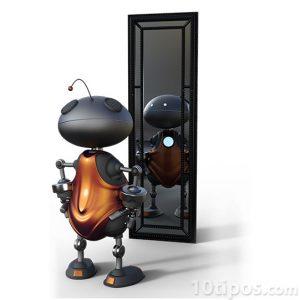Robot viendo su imagen en el espejo
