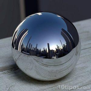 Esfera de metal con reflejo de cuidad