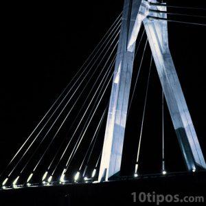 Puente colgante visto en la noche