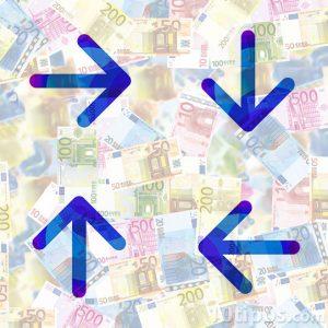 Variedad de euros con flechas