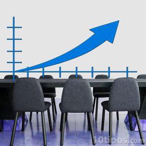Salón con gráfica en aumento
