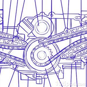 Dibujo de maquinaria con engranes y cadenas