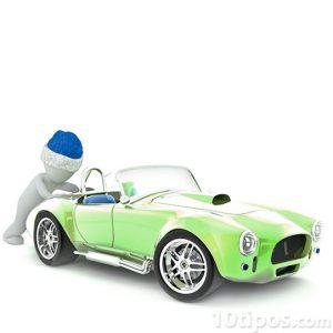 Imagen de una persona empujando un automóvil