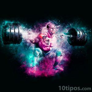 Atleta cargando pesas