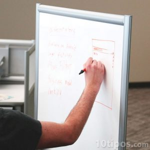 Hombre explica el tema mientras dibuja