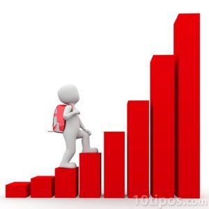Persona subiendo las barras de una gráfica