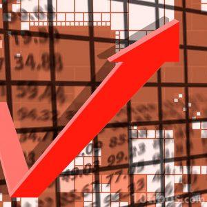 Gráfica en forma de flecha de color rojo