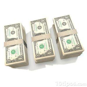 Tres pilares de billetes de un dolar