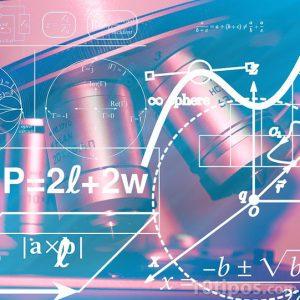 Imagen de un microscopio con una formula matemática