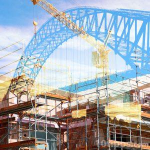 Representación de construcción de edificios y puentes