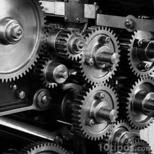 Engranes de una maquina hechos de acero