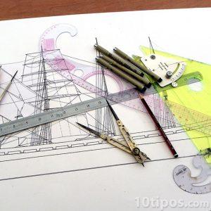Representación gráfica de un barco con instrumentos