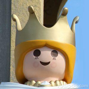 Cabeza de personaje de princesa con corona