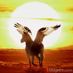 Animal mítico pegaso vuela por las nubes