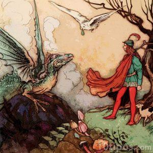 Dibujo de una hombre retando a un dragón