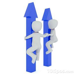 Personas subiendo en flechas de color azul