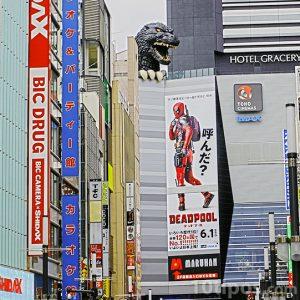 Calle de Japón con anuncios