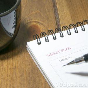 Llenando agenda con lapicero