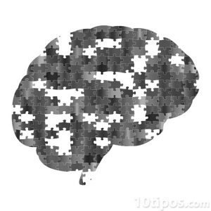 Cerebro hecho con rompecabezas