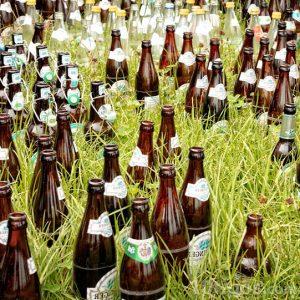 Botellas de vidrio obscuro