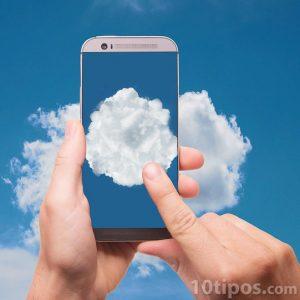 Dispositivo navegando por la nube