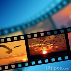 Cinta de cine con imágenes