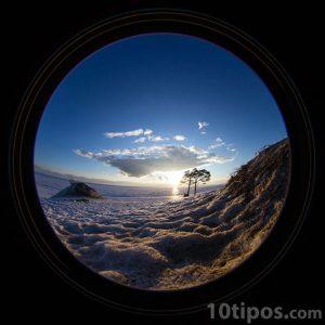 Fotografía de paisaje en círculo