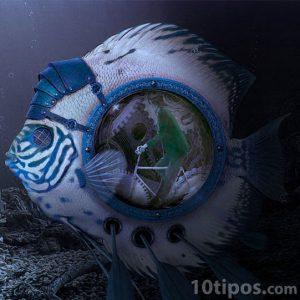 Imagen surrealista de hombre dentro de un pez