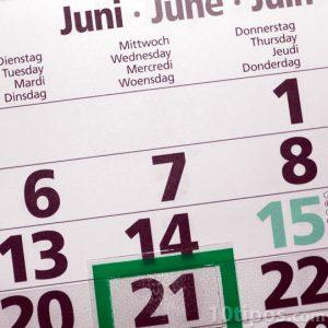 Calendario del mes de junio