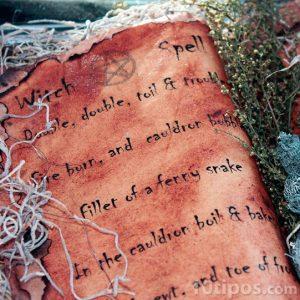 Conjuro mágico escrito en inglés