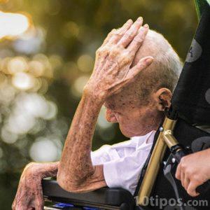 Adulto mayor en silla de ruedas